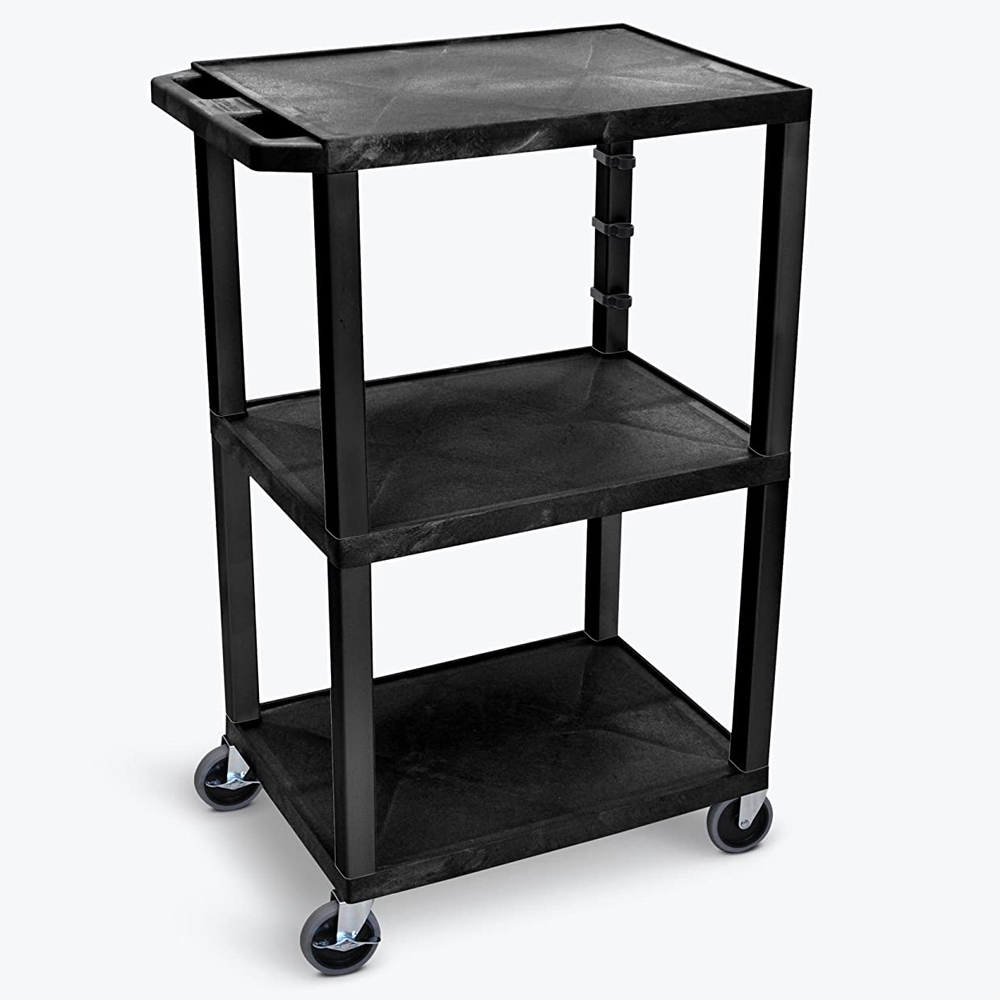 "LUXOR|H.WILSON Tuffy™ Utility Cart - 42"" with 3 Shelves - 16-1/2"" & 16-1/2"" Between Shelves"