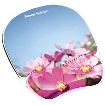 Fellowes Gel Mouse Pad Wrist Rest with Microban Protection- Flowers