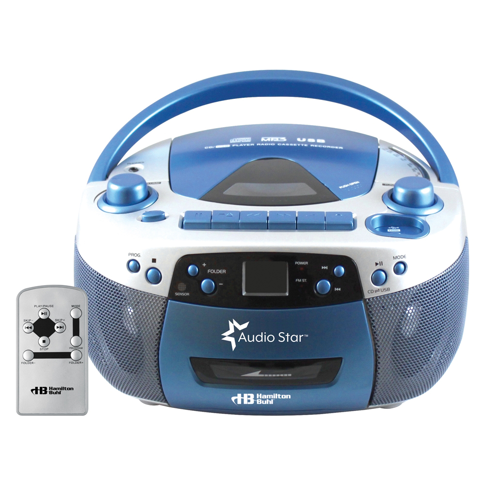 HamiltonBuhl® AudioStar™ Mulit-Function Boombox with Tape & CD to MP3 Converter