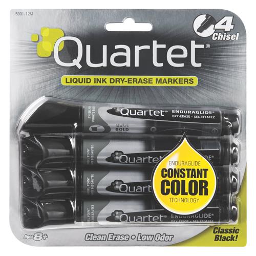 Quartet® Low Odor Dry-Erase Markers - Chisel Tip - Black - 4/Pkg