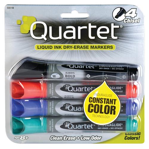 Quartet® Low Odor Dry-Erase Markers - Chisel Tip - Assorted - 4/Pkg