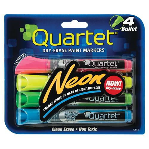 Quartet® Neon Dry-Erase Markers - Bullet Tip - Assorted - 4/Pkg