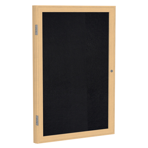 ghent® Enclosed Recycled Rubber Bulletin Board - 1 Door - 2 ft.H x 1-1/2 ft.W - Oak Frame