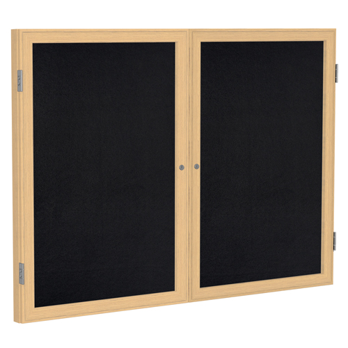 ghent® Enclosed Recycled Rubber Bulletin Board - 2 Door - 3 ft.H x 5 ft.W - Oak Frame