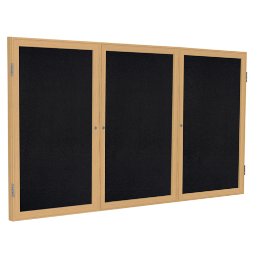 ghent® Enclosed Recycled Rubber Bulletin Board - 3 Door - 3 ft.H x 6 ft.W - Oak Frame