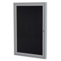 ghent® Enclosed Recycled Rubber Bulletin Board - 1 Door - 2 ft.H x 1-1/2 ft.W - Aluminum Frame