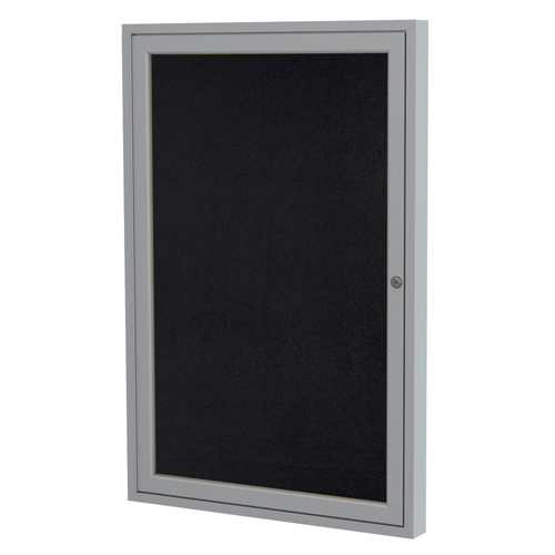 ghent® Enclosed Recycled Rubber Bulletin Board - 1 Door - 3 ft.H x 2 ft.W - Aluminum Frame