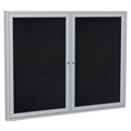 ghent® Enclosed Recycled Rubber Bulletin Board - 2 Door - 3 ft.H x 4 ft.W - Aluminum Frame