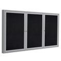 ghent® Enclosed Recycled Rubber Bulletin Board - 3 Door - 3 ft.H x 6 ft.W - Aluminum Frame
