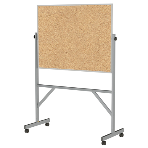 """ghent® Reversible Free Standing Board - Natural Cork - Aluminum Frame - 72-1/8""H x 53-1/4""W x 23-3/4""D"