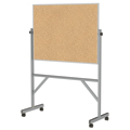 ghent® Reversible Free Standing Board - Natural Cork - Aluminum Frame - 72-1/8