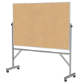 ghent® Reversible Free Standing Board - Natural Cork - Aluminum Frame - 78-1/8