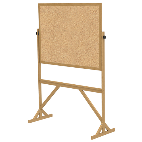 """ghent® Reversible Free Standing Board - Natural Cork - Wood Frame - 72-1/8""""H x 53-1/4""""W x 23-3/4""""D"""