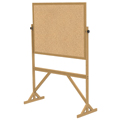 ghent® Reversible Free Standing Board - Natural Cork - Wood Frame - 72-1/8