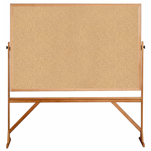 "ghent® Reversible Free Standing Board - Natural Cork - Wood Frame - 78-1/8""H x 77-1/4""W x 23-3/4""D"