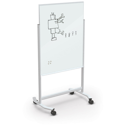 MooreCo® Visionary® Move Mobile Magnetic Glass Markerboard - White - 4 ft.H x 3 ft.W Board
