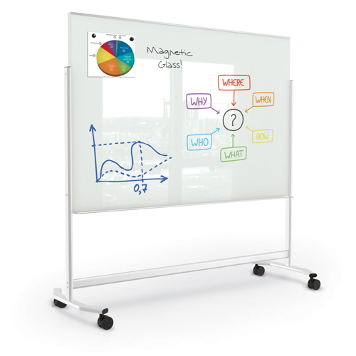 MooreCo® Visionary® Move Mobile Magnetic Glass Markerboard - White - 4 ft.H x 6 ft.W Board