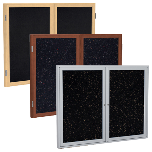 ghent® Enclosed Recycled Rubber Bulletin Boards - 2 Door