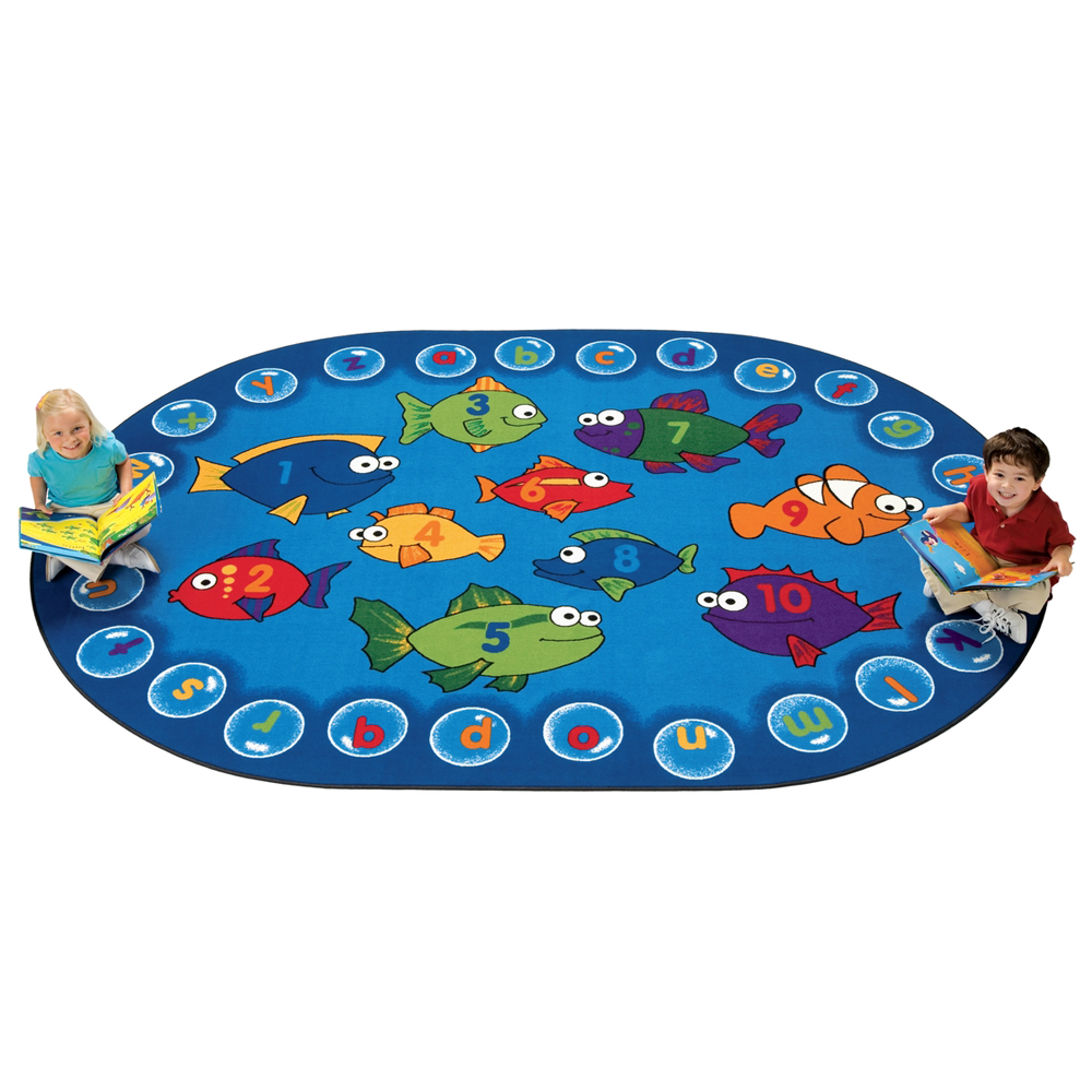 Carpets for Kids Fishing For Literacy - 8 ft. x 12 ft. Oval