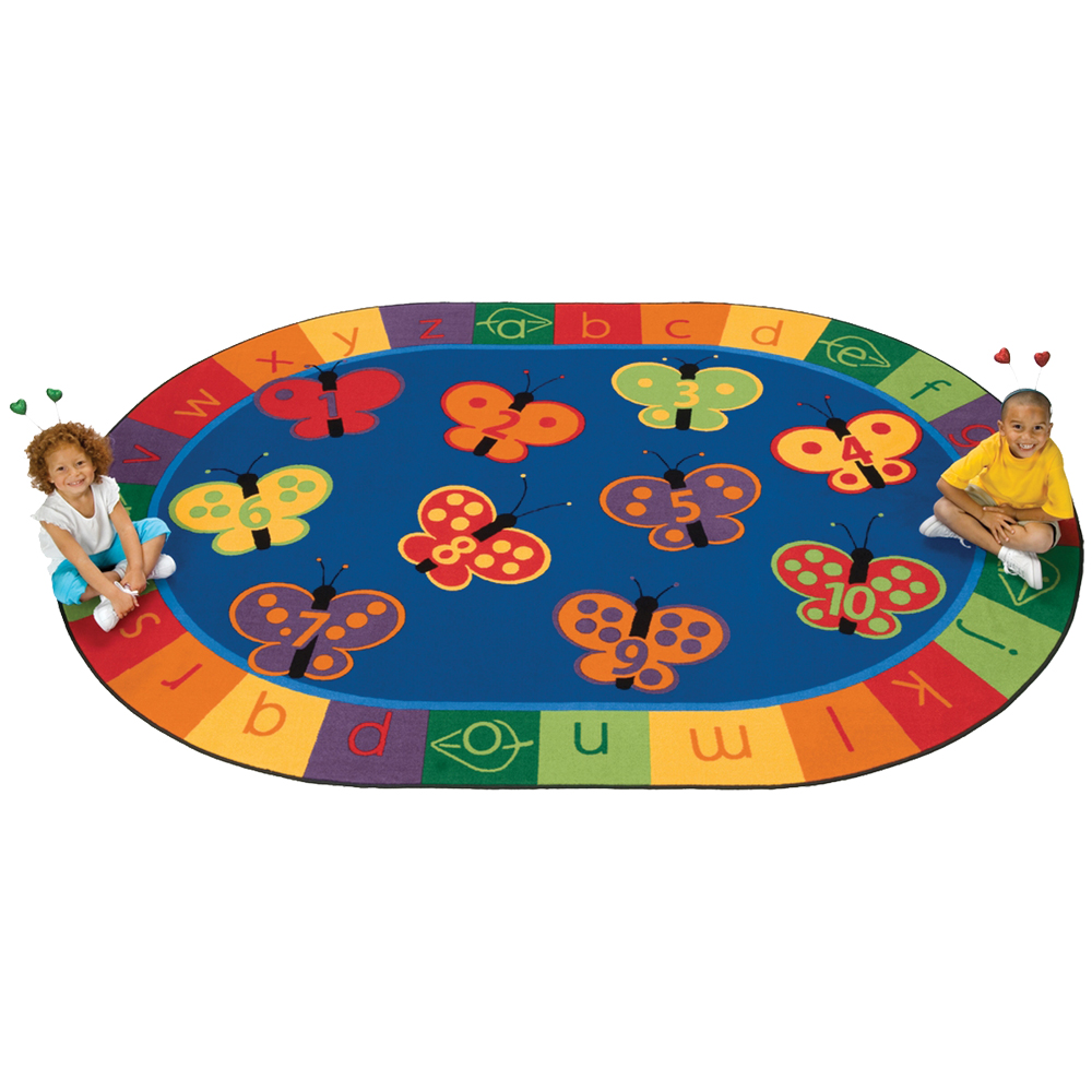 Carpets for Kids 123 ABC Butterfly Fun Rug - 8 ft. x 12 ft. Oval