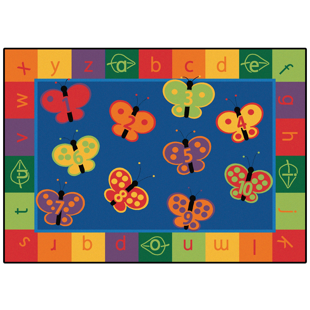Carpets for Kids 123 ABC Butterfly Fun Rug - 6 ft. x 9 ft. Rectangle