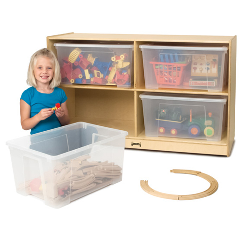 Jonti-Craft® Jumbo Tote Storage unit - With 4 Clear Totes and Lids
