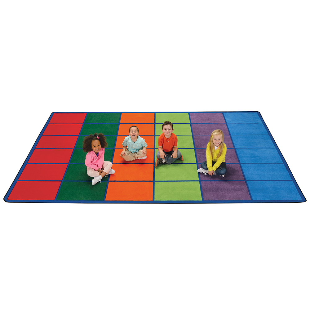 Carpets for Kids Colorful Rows Seating Rug
