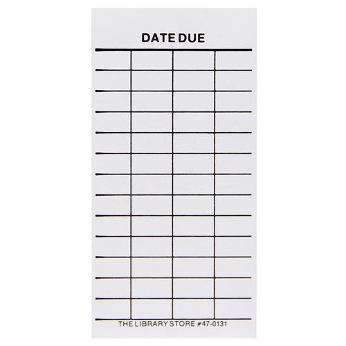 "Date Due Slips - Media 4-Column, Full Removable Adhesive, 4""H x 2""W, 100/Pkg"