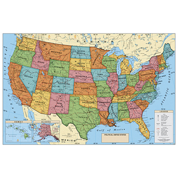 Main Item Numbers - Laminated Political Poster Map - United States