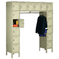 tennsco™ Box Lockers - 16/Box - Standing Unit with Coat Rod
