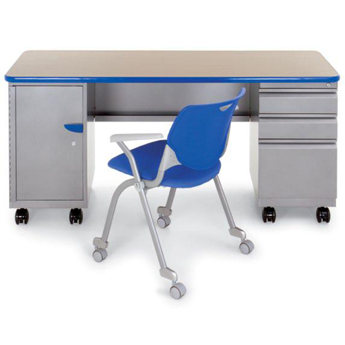 """Cascade™ Teachers Desk - Double Cabinet with Pedestal and six 3"""" totes"""