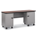 Cascade™ Teachers Desk - Double Cabinet with Pedestal, two 3