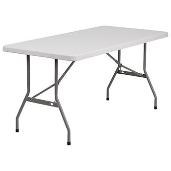 Granite White Plastic Folding Table-30W x 60L