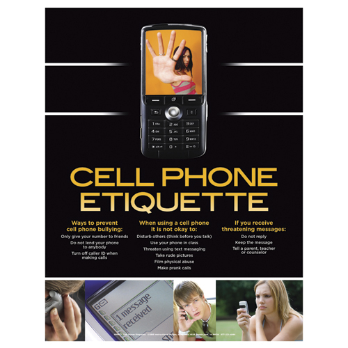 Cell Phone Etiquette Laminated Poster - CLEARANCE -  Save 57%