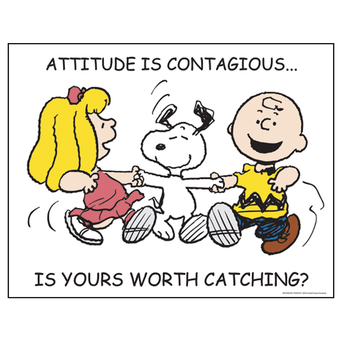Peanuts® Attitude is Contagious Motivational Poster