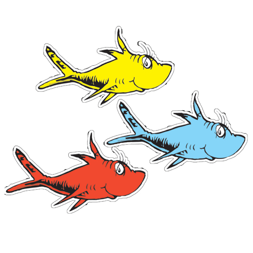 Dr. Seuss™ One Fish, 2 Fish Assorted Paper Cut-Outs - 36/Pkg