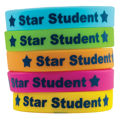 Star Student Silicone Wristbands - 10/Pkg