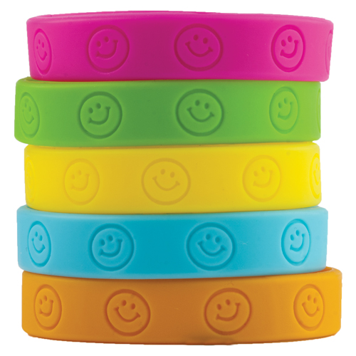 Happy Faces Silicone Wristbands - 10/Pkg