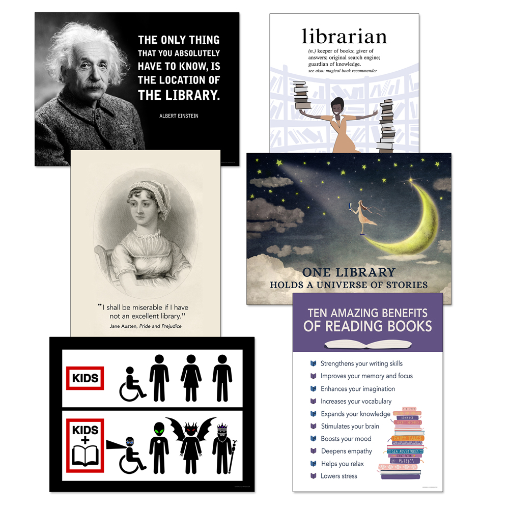 Library Theme Posters Posters - 6/SetNew!