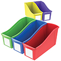Storex Interlocking Book Bins with Label Pouches - Large - 5/Set