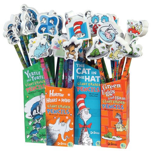 Dr. Seuss™ Pencil w/Giant Eraser Assortment - 36/Pkg