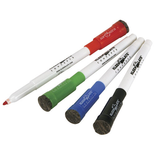 KleenSlate® Small Dry-Erase Markers w/Erasers - 4/Pkg
