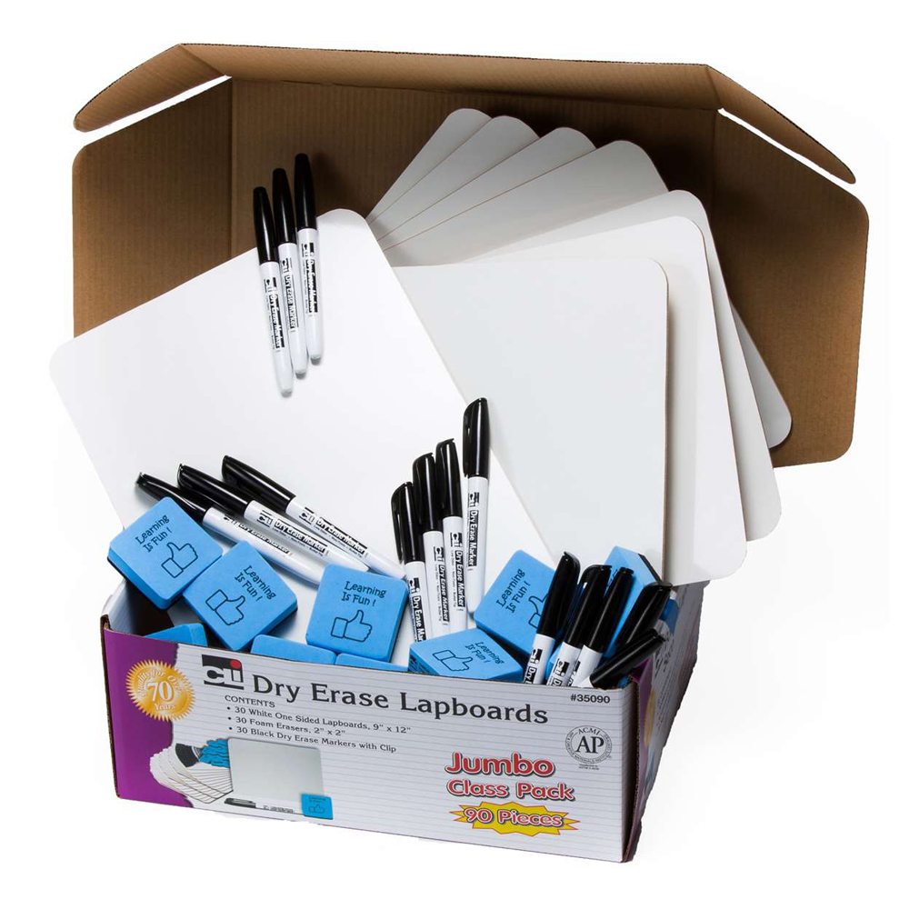 Dry-Erase Lapboards Jumbo Class Pack - 30 Sets/Pkg