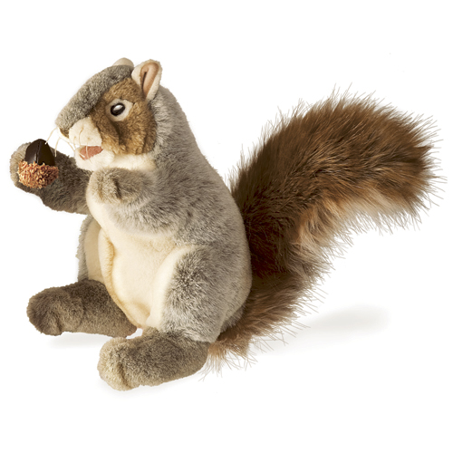 "Gray Squirrel Hand Puppet - 12"" L"