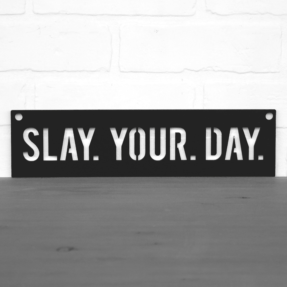 Spunky Fluff™ Hand-Painted Large Wood Sign - Slay Your Day