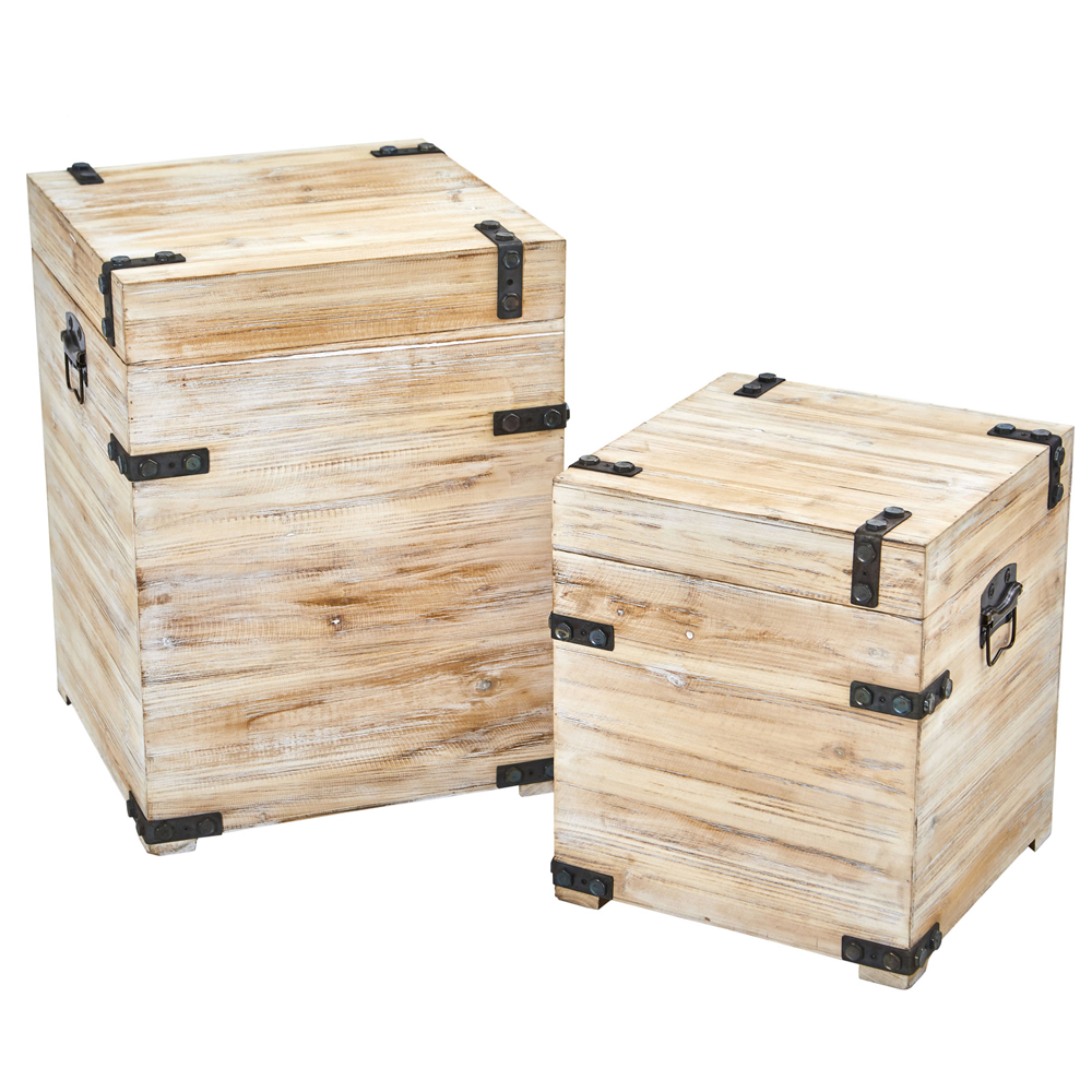 White Wash Storage Boxes - Pair