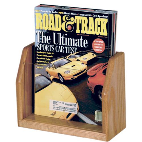 Wooden Mallet Oak and Acrylic Countertop Display - 1/Pocket, Magazine