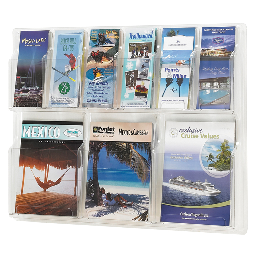 SAFCO® Reveal Clear Wall Display - 3 Magazine/6 Literature Pockets