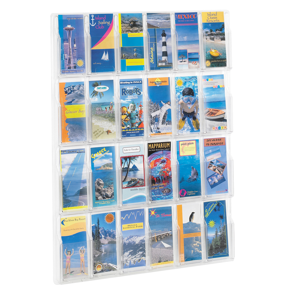 SAFCO® Reveal Clear Wall Display - 24 Literature Pockets