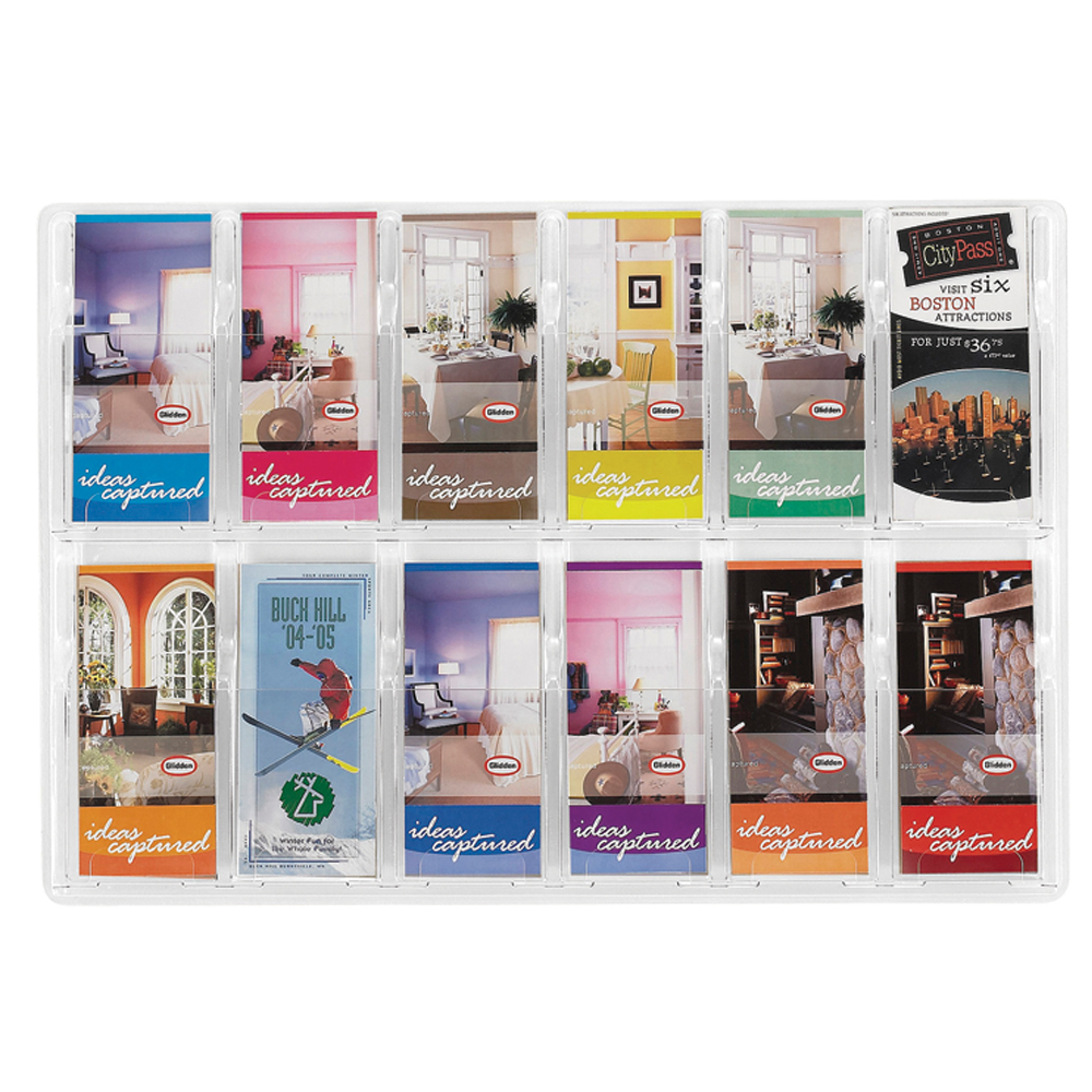 SAFCO® Reveal Clear Wall Display - 12 Literature Pockets